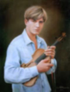 Скрипач мальчик со скрипкой портрет Автор Иван Пархоменко