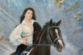 Девушка на коне Портрет в подарок  авторская живопись Пархоменко Иван