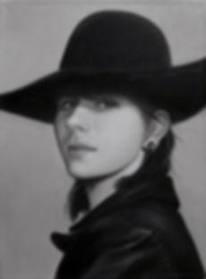 Портрет по фото монохромный  портрет ч.б. портрет девушка в шляпе кожанная куртка