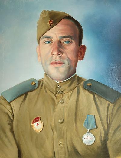 Автор Иван Пархоменко Советский солдат воин ВОВ медаль за отвагу Пархоменко Иван картины  портрет 100% сходство герои войны   Бессмертный полк