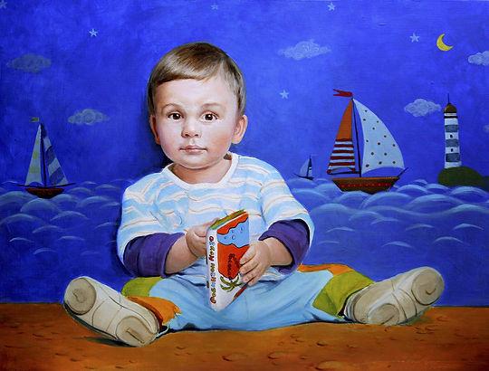 Детский портрет Малыш перед сном  путешествия парусник маяк автор Иван Пархомено