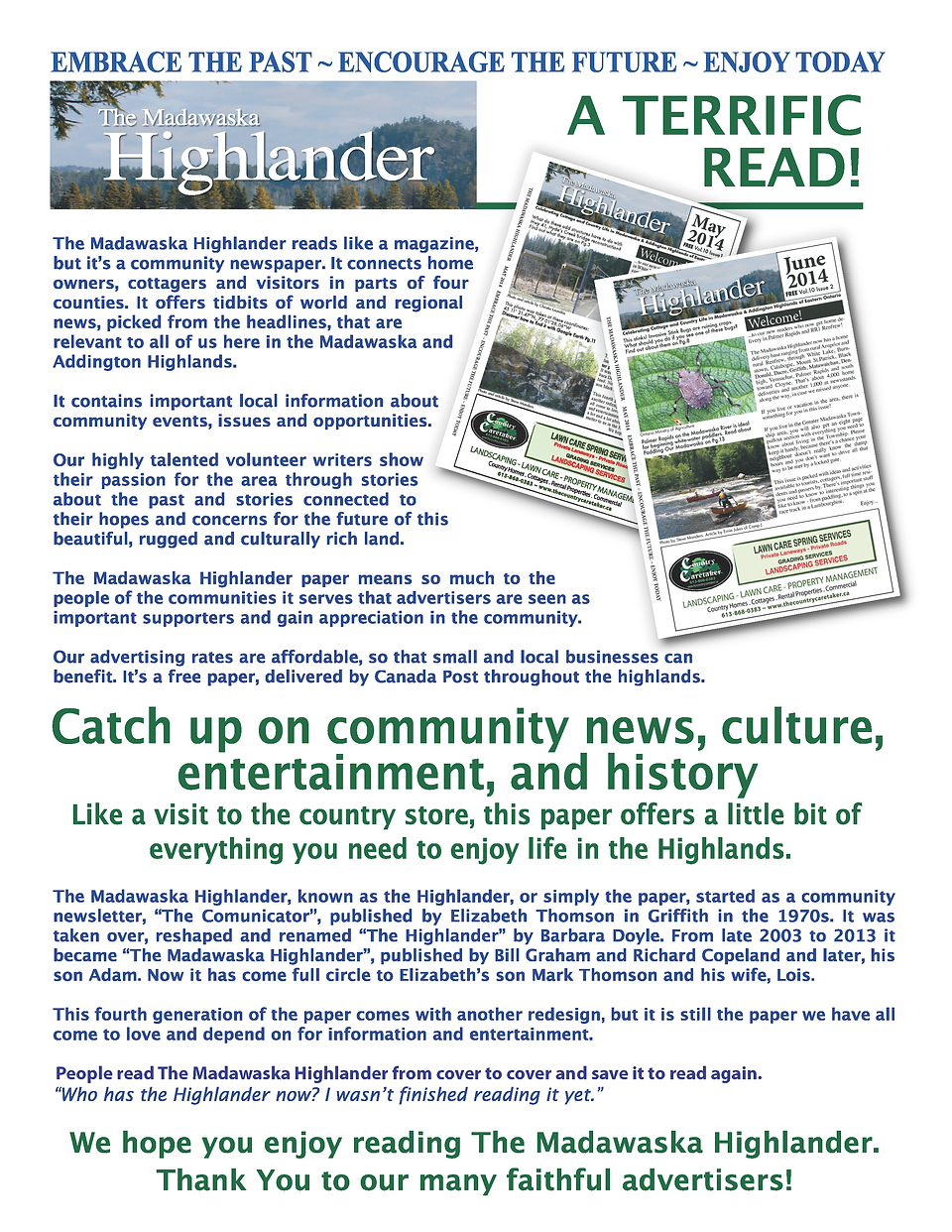 ABOUT THE MADAWASKA HIGHLANDER TERRIFIC READ HIGHLANDS NEWSPAPER