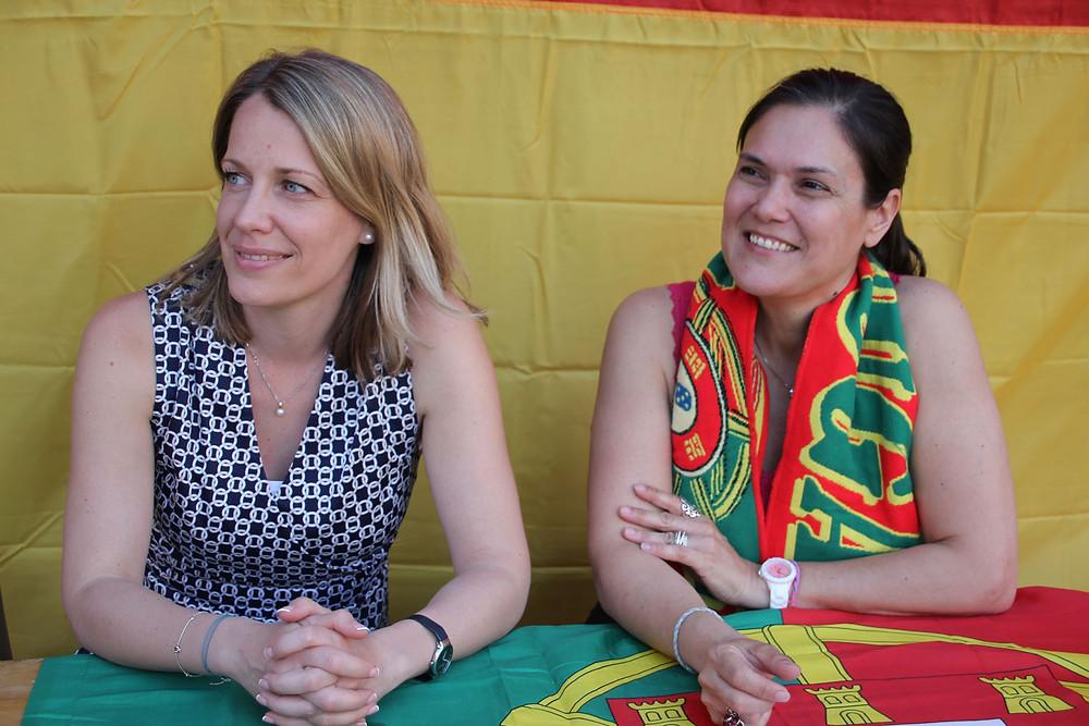 Hanna Hittner e Lídia Nabais - as Cônsules-Gerais da Hungria e Portugal em Düsseldorf assistiram juntas ao jogo entre as suas selecções