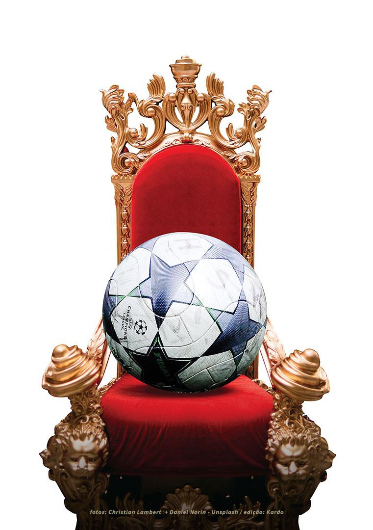 Um trono com uma bola sentada nele