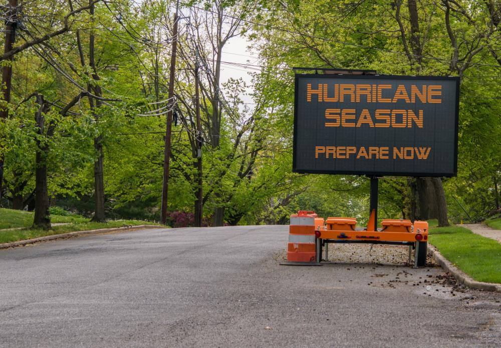 "road sign - ""hurricane season prepare now"""