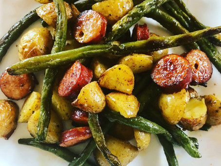 Roasted Green Beans, Potatoes and Spicy Chicken Sausage