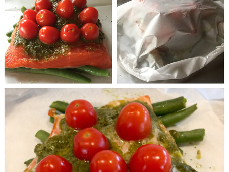 Salmon with Pesto, Tomatoes and Green Beans