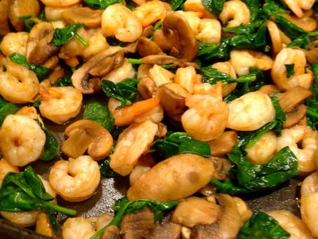 Shrimp, Mushroom and Spinach Sautee