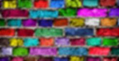 Rainbow colourful brick wall (background