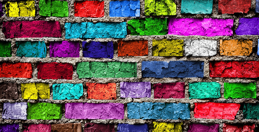Rainbow colourful brick wall (background