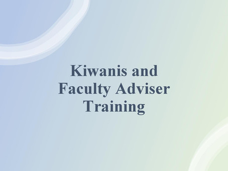Fall Rally 2020: Kiwanis and Faculty Adviser (Training)