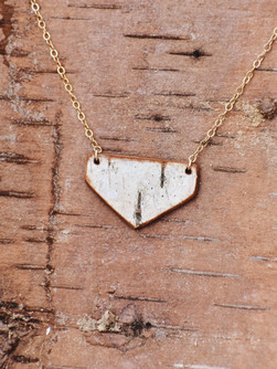 Birch Bark Gold Plated Necklace