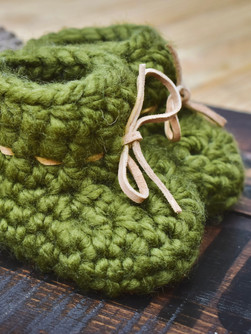 Crocheted Baby Booties with Leather Soles