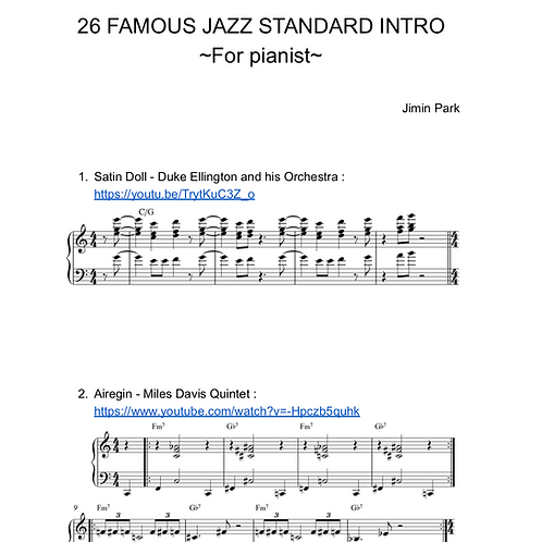 26 famous Jazz standard intros for jazz pianist