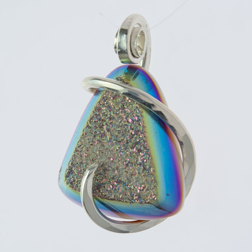 Wire Wrapped Stone Druzy Pendant Coated With Titanium | Handmade ...