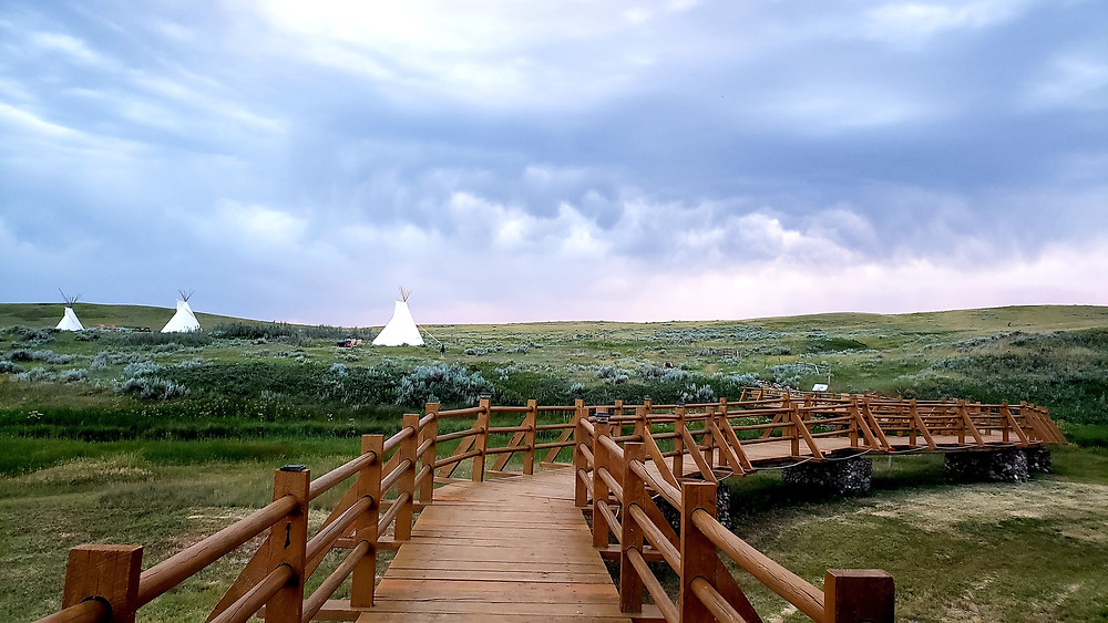 Teepee camping in Grasslands National Park, Saskatchewan