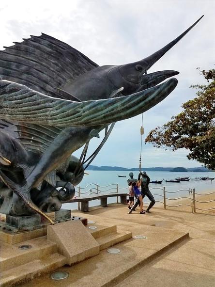 Large fish sculpture in Ao Nang Beach, Krabi, Thailand