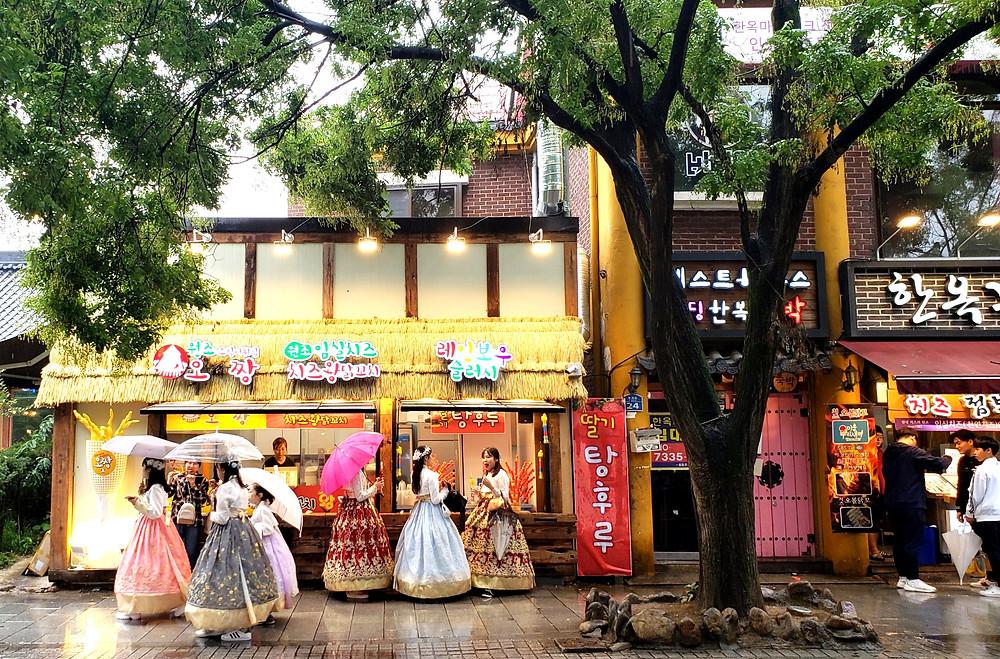 Jeonju, hanbok wearing tourists, South Korea