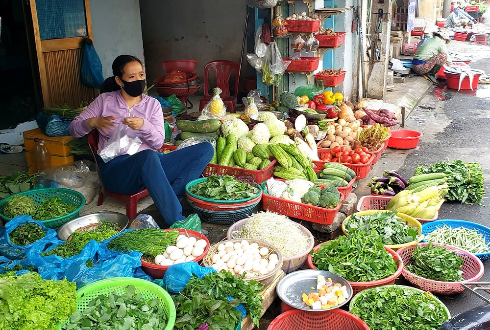 Market stall selling  fresh, cheap produce