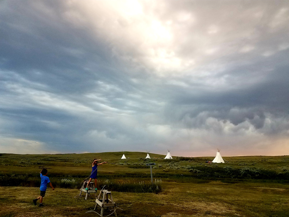 Teepee camping with kids at Grasslands, Saskatchewan