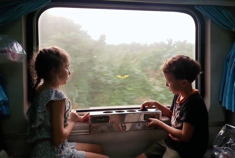 Train travel in Thailand  with kids