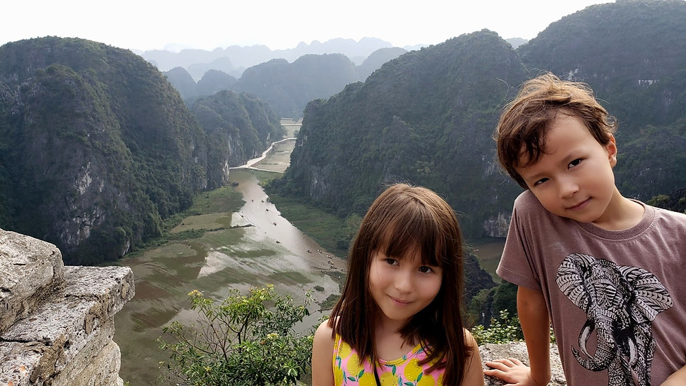 Kids at a viewpoint in Hang Mua, Vietnam
