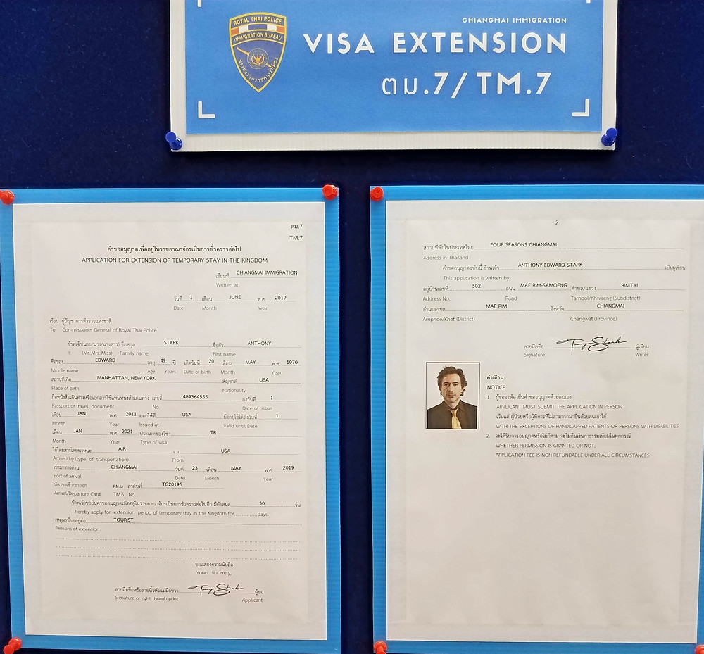 Thai Visa Extension forms with Tony Stark