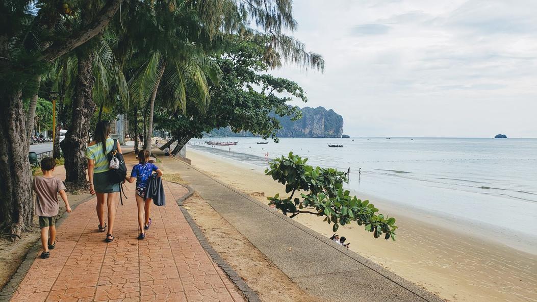 Walking on the beach promenade, Ao Nang beach, Krabi, Thailand