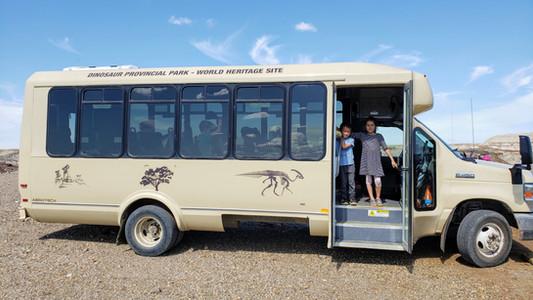 Fossil Safari bus, at Dinosaur Provincial Park