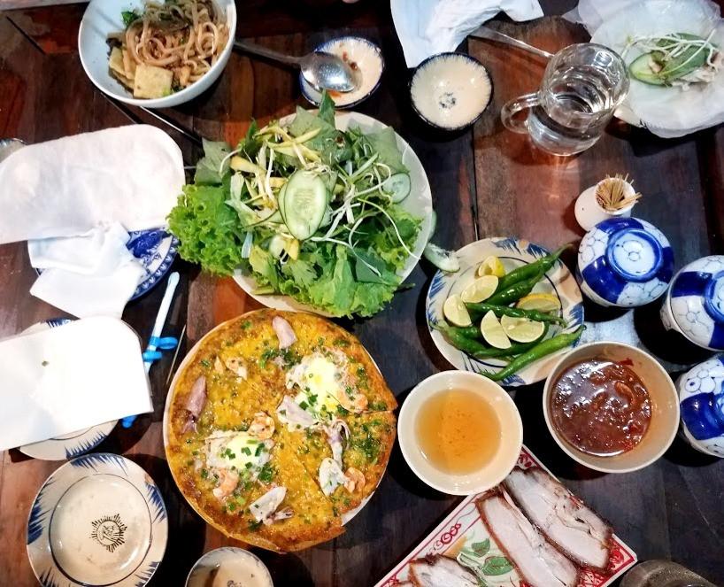 Banh Xeo pancakes at a restaurant