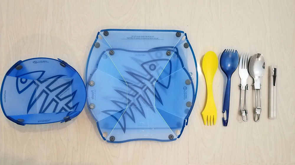 Reusable cutlery, and FOZZILS plates and bowls,