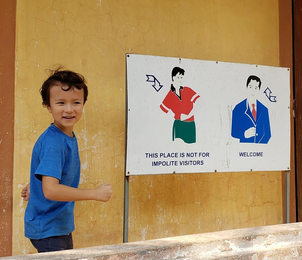 Vietnam buddhist temple etiquette, dress code sign.