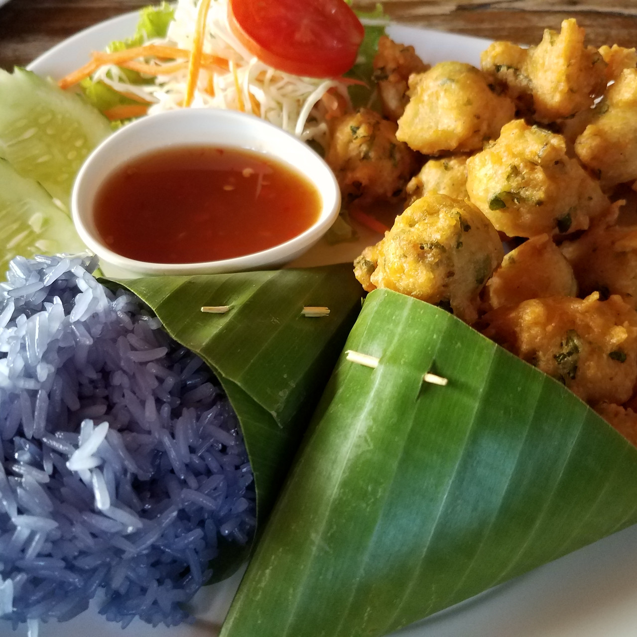 blue rice and potato balls at AUM restaurant, Chiang Mai