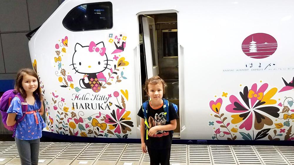 Hello Kitty train to Kyoto, Japan, from Osaka