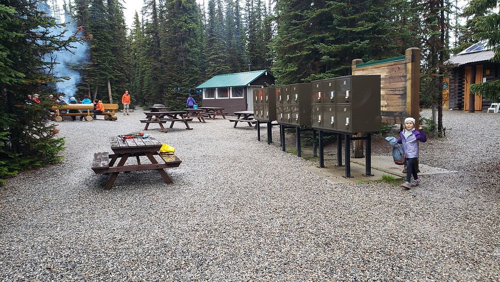Communal eating area and lockers at Lake O'hara Campground, Yoho National Park, B.C.
