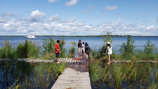 Kids fishing at Georgian Bay Islands National Park