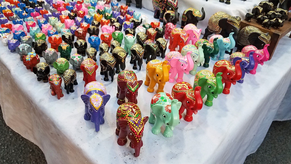 Thai painted elephant souvenirs at the market