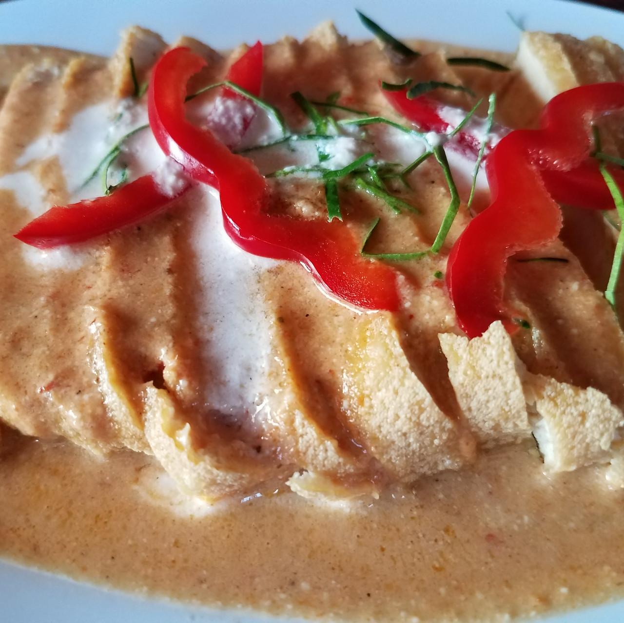 Curry tofu, at AUM vegetarian restaurant, Chiang Mai