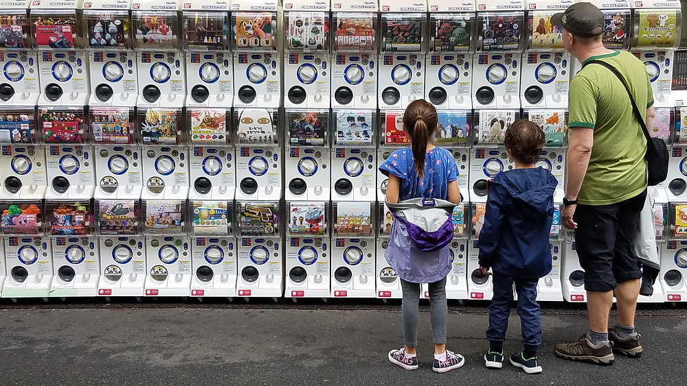 Gachapon or gashapon toy vending machines in Osaka, Japan