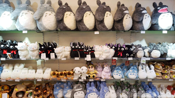 Totoro stuffed animals at the Studio Ghibli store in Kyoto, Japan