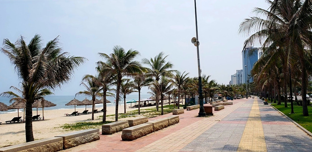 Empty beaches and streets in Danang, Vietnam