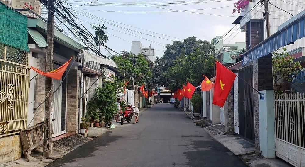 Quiet residential streets in Danang, Vietnam