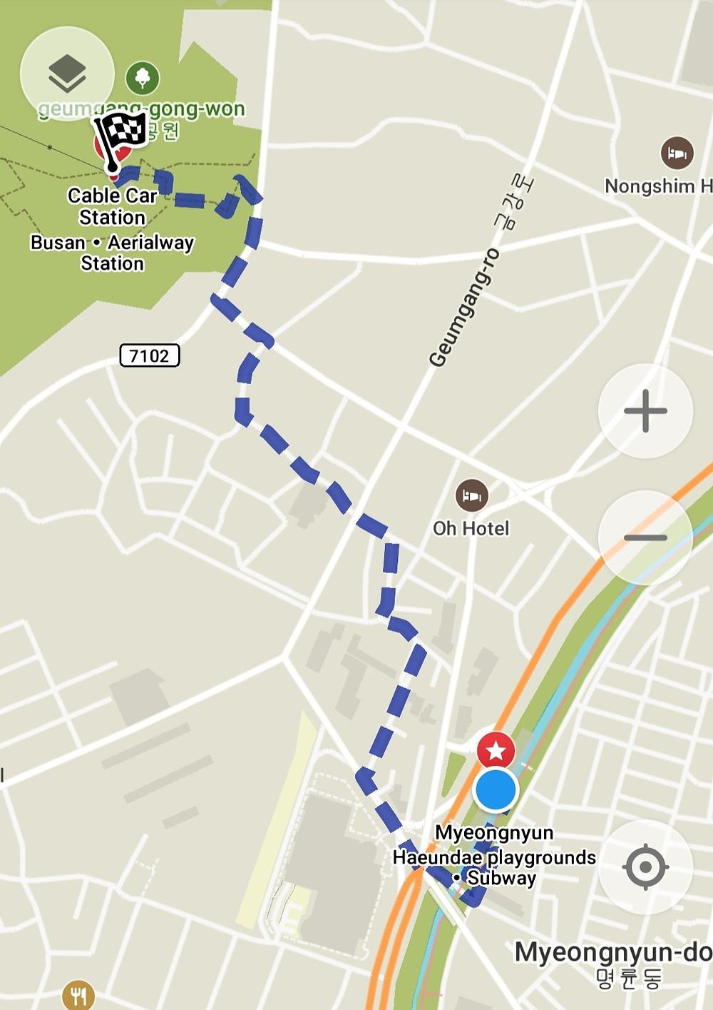 Map and Directions to Geumjeongsanseong, Busan