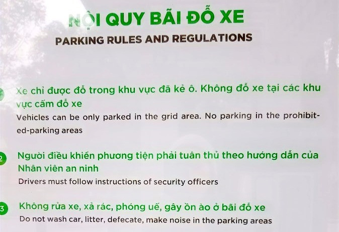 Vietnamese Parking Rules and Regulations. No defecation