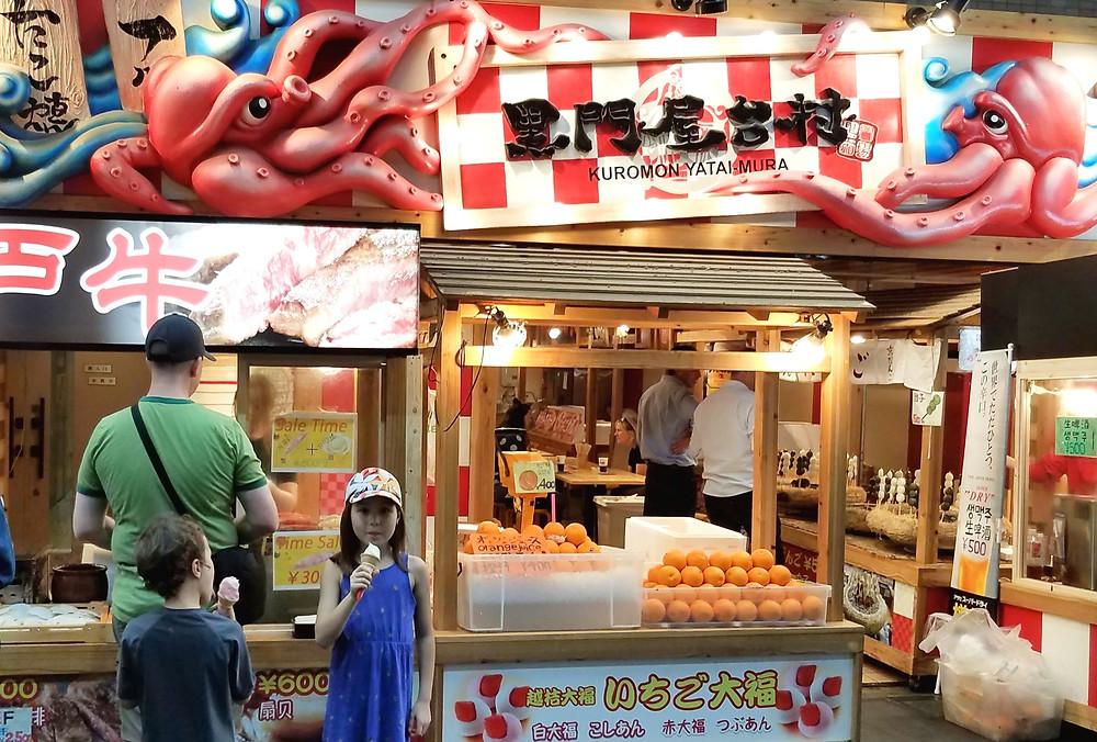 Delicious seafood in Kuromon Market, Osaka