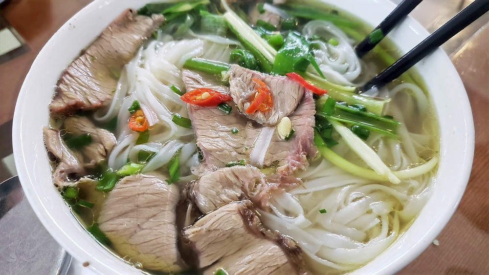 Pho beef noodle soup at Hanoi Ecopark