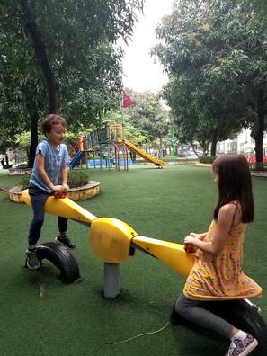 Kids playing in the playground, Hanoi.