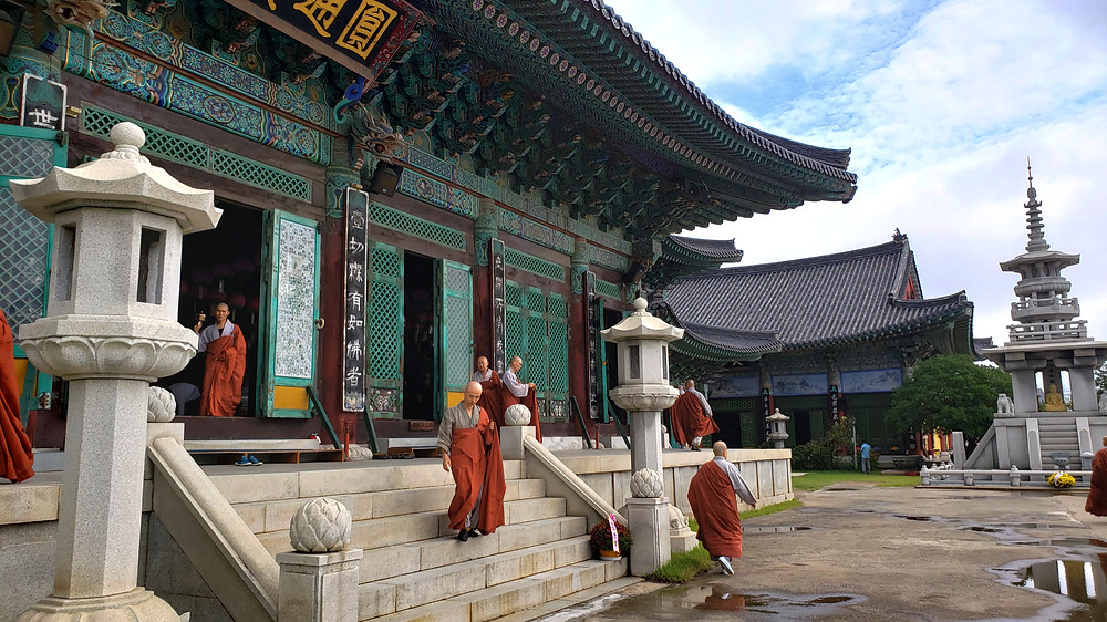 Korean temple with monks