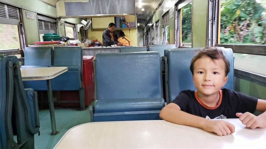 Restaurant car on the train from Trang to Bangkok