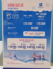 Prices for ice rink in Vincom Royal City, Hanoi